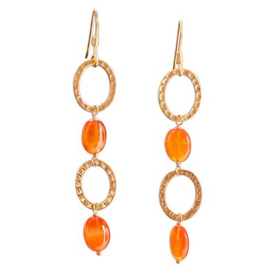 Gold vermeil carnelian dangle earrings, 'Vibrant' - Women's Modern Vermeil and Carnelian Earrings