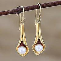 Gold vermeil pearl flower earrings, 'Secret Lilies' - Bridal Jewelry Earrings in Vermeil and Pearls