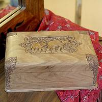 Walnut wood jewelry box, 'Elephant Leisure' - Handcrafted Wood Box with Carved Elephants