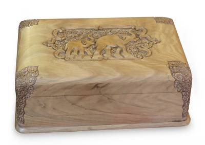 Walnut wood jewelry box, 'Elephant Leisure' - Wood jewellery Box
