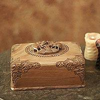 Walnut wood jewelry box, 'Triumphant Elephants'