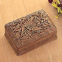 Walnut wood jewelry box, 'Woodpecker Flowers' - Walnut wood jewelry box