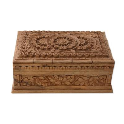 Handmade Floral Wood Jewelry Box from India