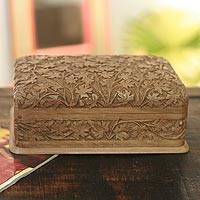 Walnut wood jewelry box, 'Wild Ivy' - Artisan Hand Carved Wood jewellery Box from India