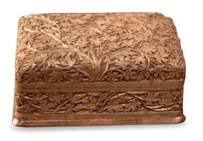 Walnut wood jewelry box, 'Wild Ivy' - Artisan Hand Carved Wood jewellery Box from India