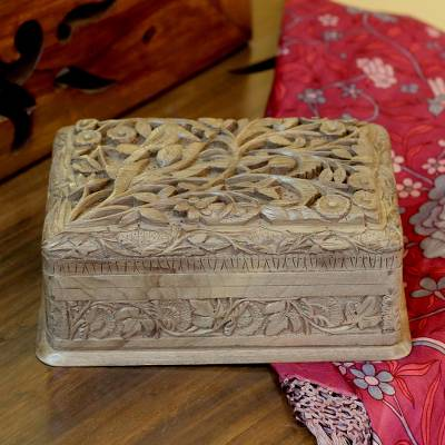 Walnut wood jewelry box, 'Birds in Wonderland' - Hand Carved Walnut Wood Jewelry Box