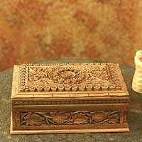 Walnut wood jewelry box 'Mandala Forest' - Hand Carved Wood Box