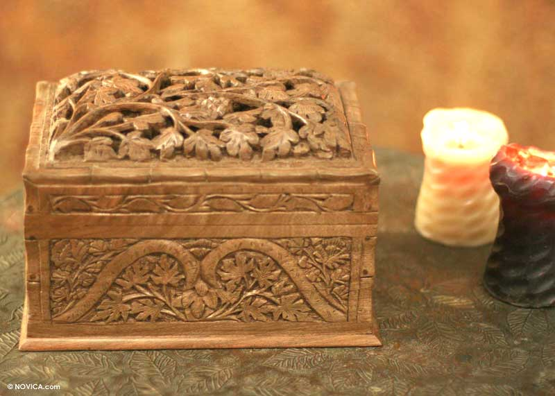 Hand Carved Wood Jewelry Box Rampant Nature NOVICA
