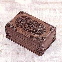 Walnut wood jewelry box, 'Floral Mandalas' - Hand Carved Wood jewellery Box