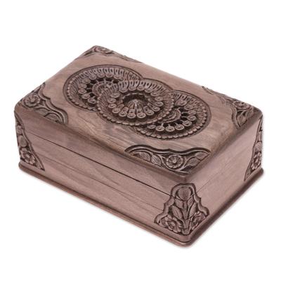 Walnut wood jewelry box, 'Floral Mandalas' - Hand Carved Wood jewellery Box