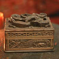 Walnut wood jewelry box, 'Loyal Dragon' - Hand Carved Walnut Wood jewellery Box