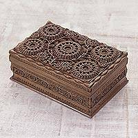 Walnut wood jewelry box, 'Sunflower Mandalas' - Hand Carved Wood Jewelry Box from India