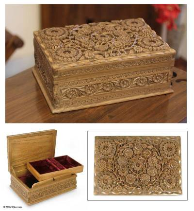 Walnut wood jewelry box, 'Lavish Garden' - Floral Wood Jewelry Box