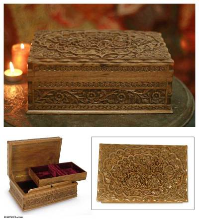 Walnut wood jewelry box, 'Mystical Garden' - Floral Carved Wood Jewelry Box