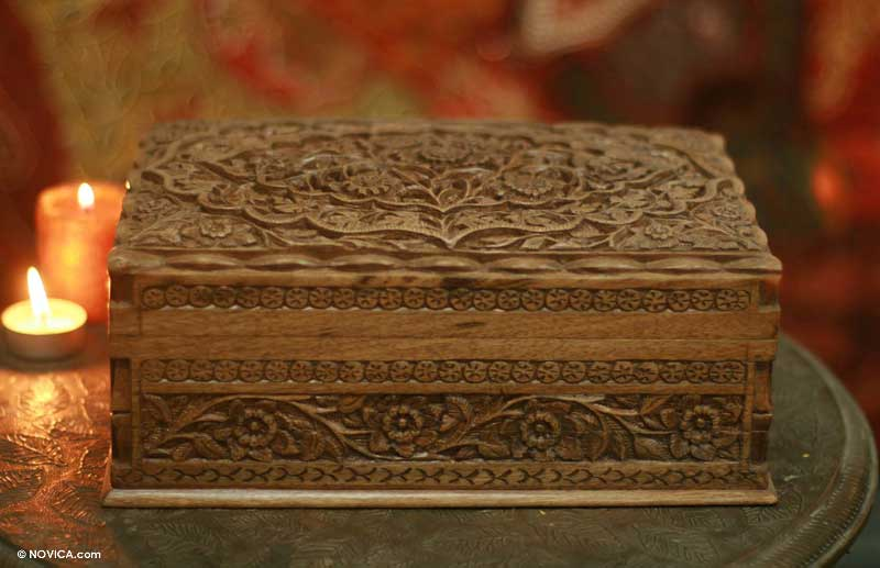 Floral Carved Wood Jewelry Box Mystical Garden NOVICA