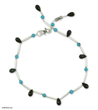 Onyx anklet, 'Musical Muse' - Fair Trade Sterling Silver and Onyx Anklet from India