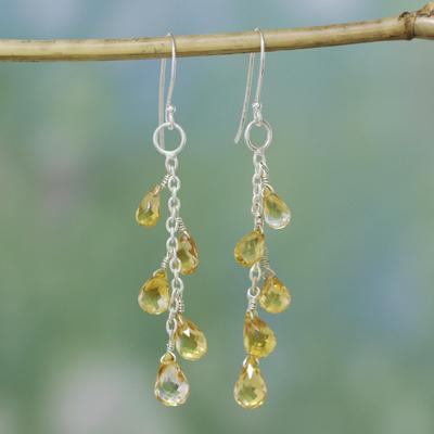 Citrine dangle earrings, 'Sunlit Waterfall' - Handcrafted Sterling Silver Citrine Dangle Earrings
