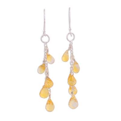 Handcrafted Sterling Silver Citrine Dangle Earrings