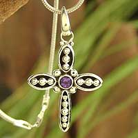 Amethyst cross necklace, 'Loyal' - Amethyst cross necklace