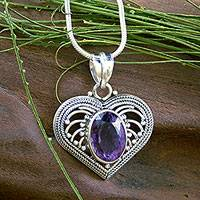 Amethyst heart necklace, 'Always Love' - Amethyst and Sterling Silver Heart Pendant Necklace