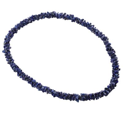 Lapis lazuli strand necklace, 'Azure Garland' - Beaded Lapis Lazuli Necklace Artisan Jewelry