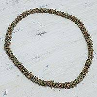 Unakite strand necklace, 'Autumn Garland' - Unakite Strand Necklace