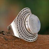 Rainbow moonstone cocktail ring, 'Mist'