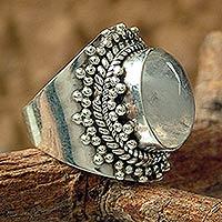 Rainbow moonstone cocktail ring, 'Radiant Moon'