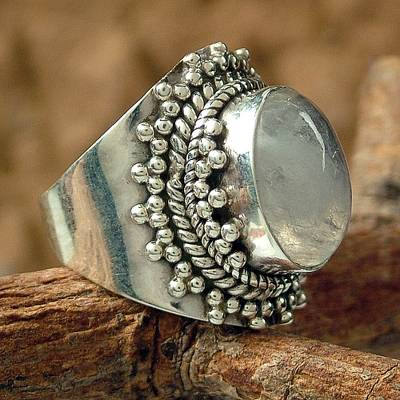 Rainbow moonstone cocktail ring, 'Radiant Moon' - Rainbow Moonstone Cocktail Ring from India Sterling Silver