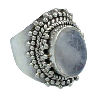 Rainbow Moonstone Cocktail Ring from India Sterling Silver