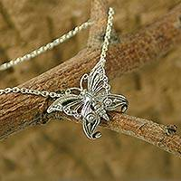 Sterling silver pendant necklace, 'Butterfly' - Handcrafted jewellery Sterling Silver Necklace