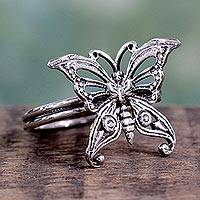 Novica Sterling silver cocktail ring, Butterfly - Sterling Silver Cocktail Ring from India Fair Trade Jewelry