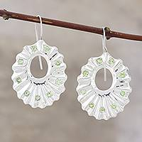 Peridot drop earrings, 'Ruffles' - Indian Modern Jewelry Sterling Silver Peridot Earrings