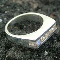 Rainbow moonstone cluster ring, 'Sparkling Mist' - Rainbow Moonstone cluster ring