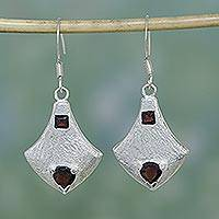 Garnet dangle earrings, 'Safeguard' - Garnet dangle earrings