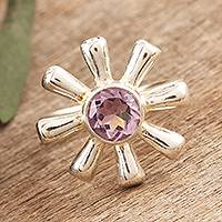 Amethyst flower ring, 'Radiant Spring' - Amethyst and 925 Silver Flower Ring