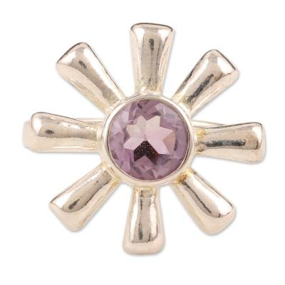 Amethyst and 925 Silver Flower Ring