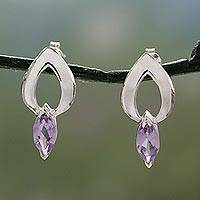 Amethyst drop earrings, 'Anticipation' - Amethyst Earrings from India Sterling Silver Jewelry