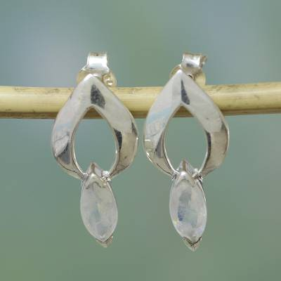 Moonstone earrings, 'Anticipation' - Unique Modern Sterling Silver and Moonstone Button Earrings