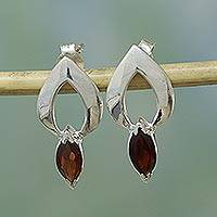 Garnet earrings, 'Anticipation' - Garnet Button Earrings Modern Sterling Silver Jewelry