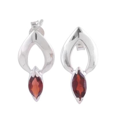 Garnet Button Earrings Modern Sterling Silver Jewelry