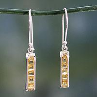 Citrine drop earrings, 'Quintet' - Citrine Sterling Silver Drop Earrings