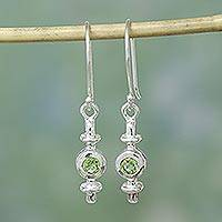 Peridot earrings, 'Lantern' - Peridot Earrings Artisan Crafted with Sterling Silver