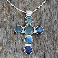 Labradorite cross necklace, 'Peace' - Labradorite Cross Sterling Silver Necklace