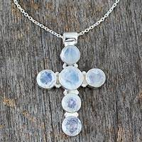 Rainbow moonstone cross necklace, 'Cross of Peace' - Rainbow Moonstone Necklace in Sterling Silver Cross Jewelry