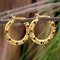 Gold vermeil garnet earrings, 'Hope' - Gold vermeil garnet earrings