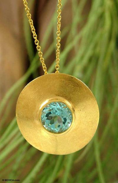 Gold vermeil blue topaz choker, 'Sky Shield' - Gold vermeil blue topaz choker