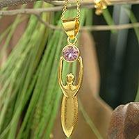 Gold vermeil amethyst choker, 'Angelic Triumph' - Gold Vermeil with Amethyst Necklace from India Jewelry