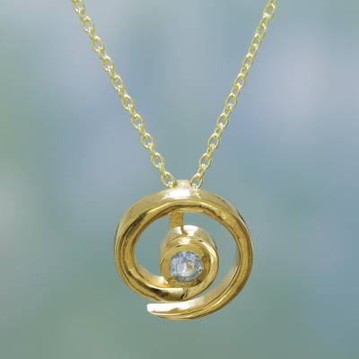 Gold vermeil blue topaz choker, 'Spinning Vortex' - Handmade Modern Vermeil and Blue Topaz Necklace