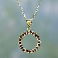 Gold vermeil garnet choker, 'Garnet Aura' - 22k Gold Vermeil and Garnet Necklace from India